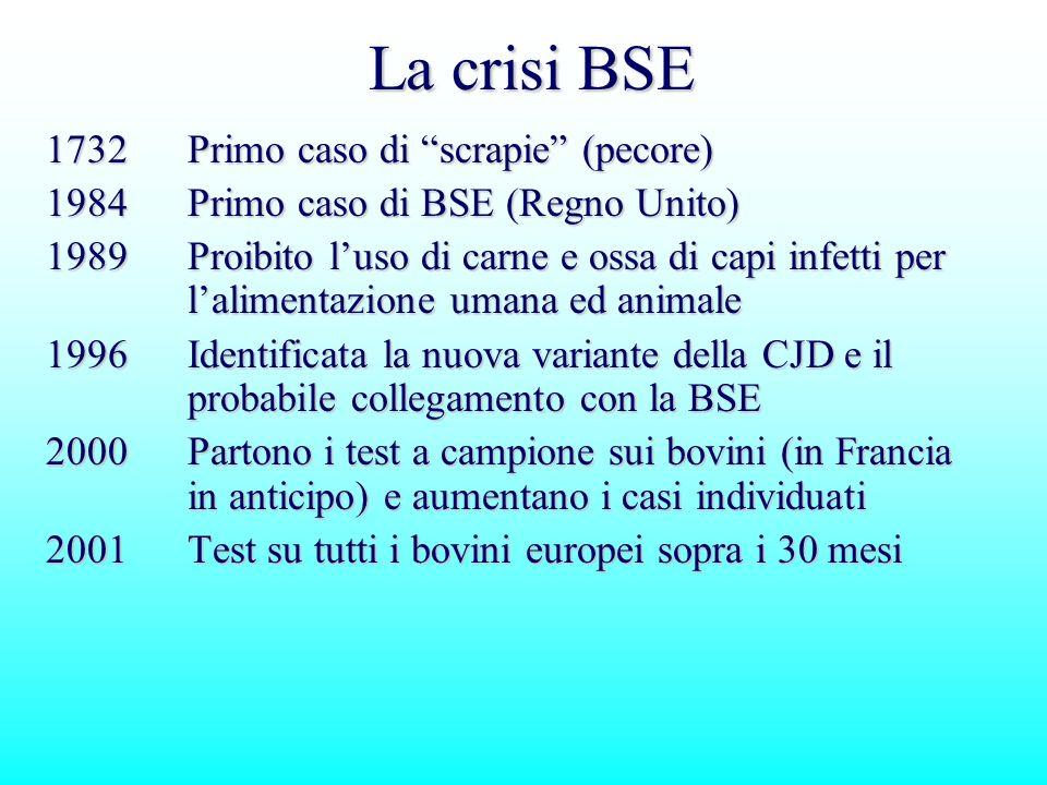 La crisi BSE 1732Primo caso di scrapie (pecore) 1984Primo caso di BSE (Regno Unito) 1989Proibito luso di carne e ossa di capi infetti per lalimentazio