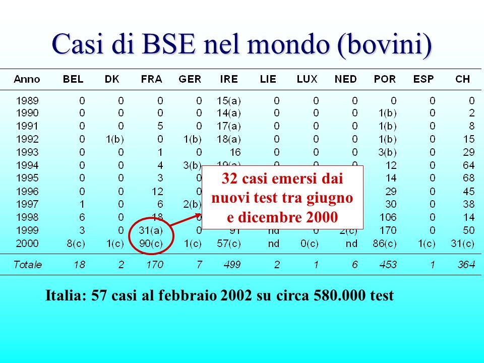 Casi di BSE nel mondo (bovini) Italia: 57 casi al febbraio 2002 su circa 580.000 test 32 casi emersi dai nuovi test tra giugno e dicembre 2000