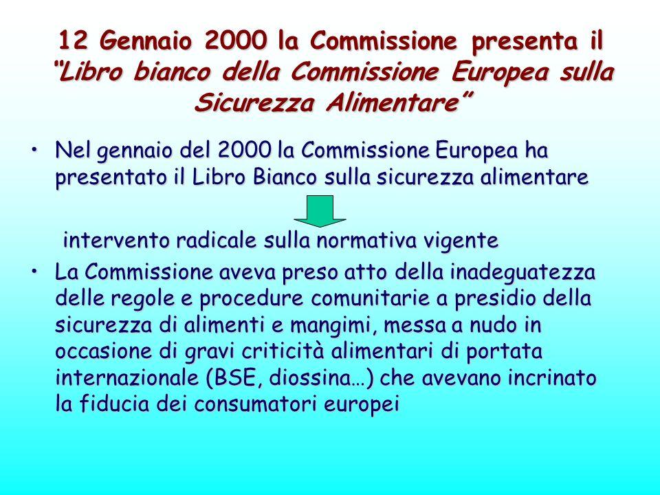 12 Gennaio 2000 la Commissione presenta il Libro bianco della Commissione Europea sulla Sicurezza Alimentare Nel gennaio del 2000 la Commissione Europ