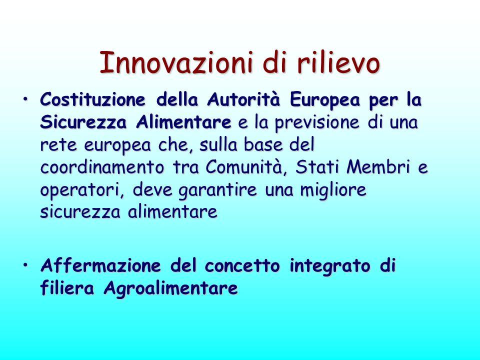 Innovazioni di rilievo Costituzione della Autorità Europea per la Sicurezza Alimentare e la previsione di una rete europea che, sulla base del coordin
