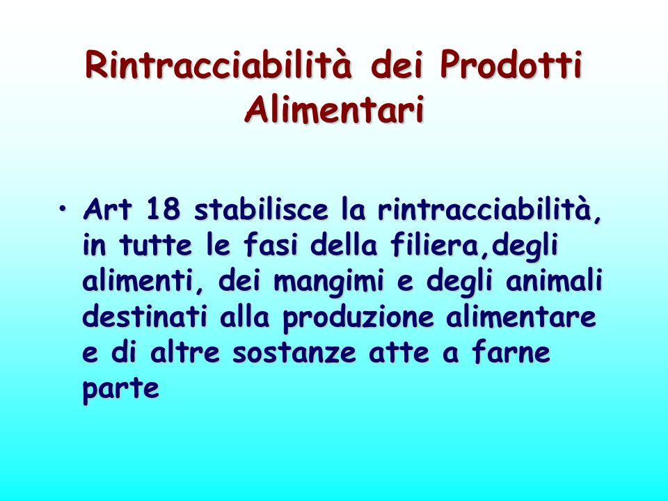 Rintracciabilità dei Prodotti Alimentari Art 18 stabilisce la rintracciabilità, in tutte le fasi della filiera,degli alimenti, dei mangimi e degli ani