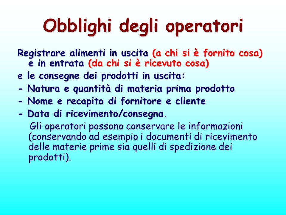 Obblighi degli operatori Registrare alimenti in uscita (a chi si è fornito cosa) e in entrata (da chi si è ricevuto cosa) e le consegne dei prodotti i