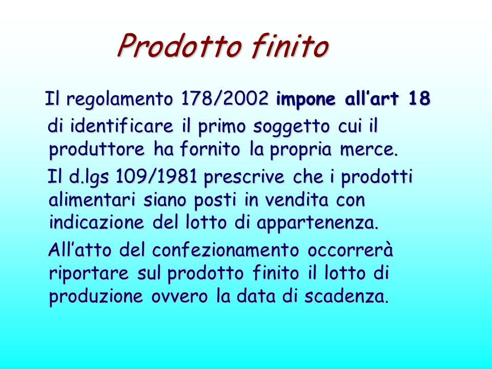 Prodotto finito Il regolamento 178/2002 impone allart 18 Il regolamento 178/2002 impone allart 18 di identificare il primo soggetto cui il produttore