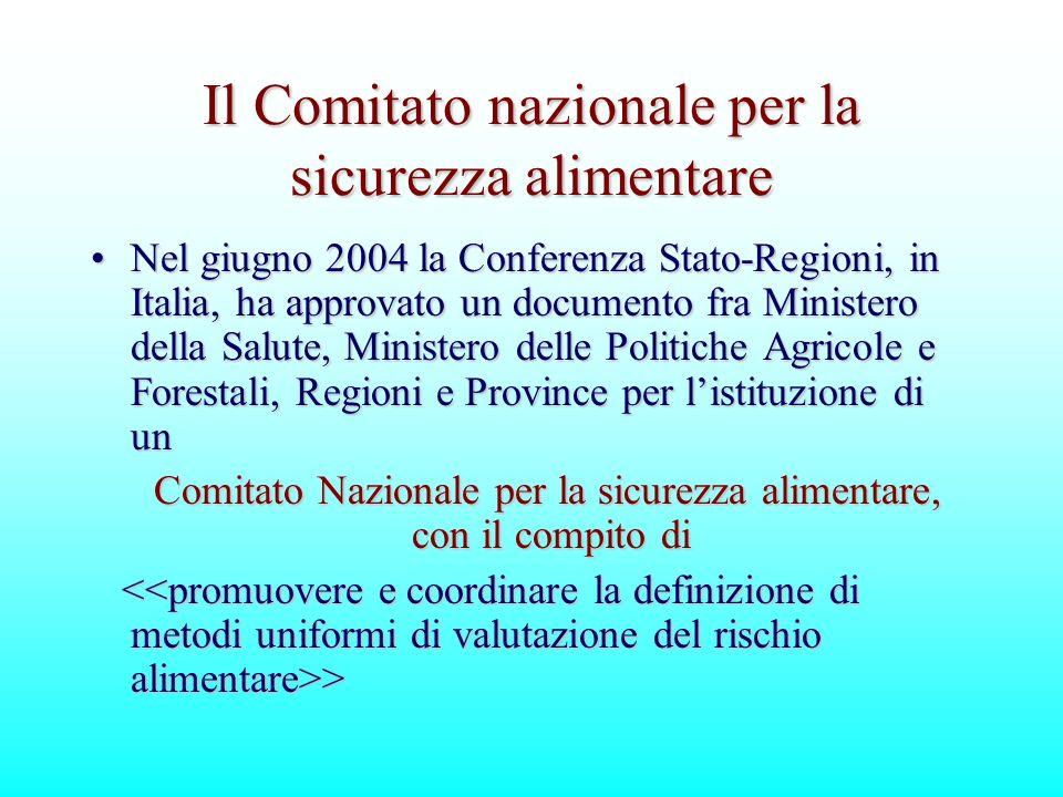 Il Comitato nazionale per la sicurezza alimentare Nel giugno 2004 la Conferenza Stato-Regioni, in Italia, ha approvato un documento fra Ministero dell