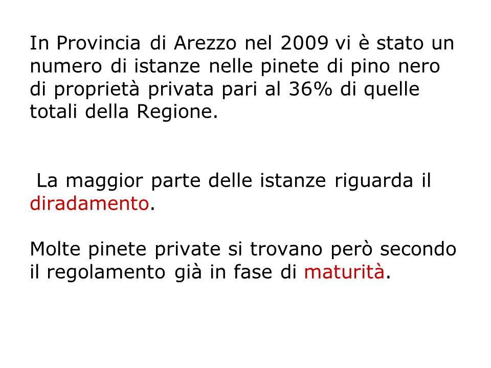 In Provincia di Arezzo nel 2009 vi è stato un numero di istanze nelle pinete di pino nero di proprietà privata pari al 36% di quelle totali della Regi
