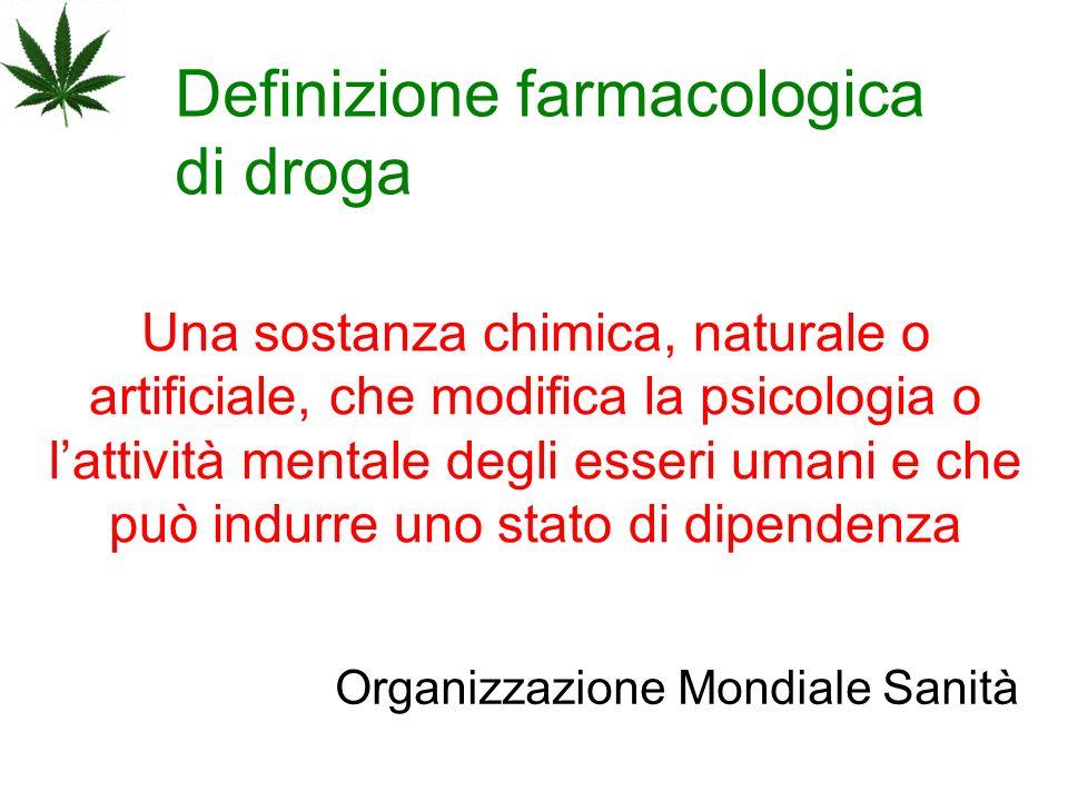 Definizione farmacologica di droga Una sostanza chimica, naturale o artificiale, che modifica la psicologia o lattività mentale degli esseri umani e c
