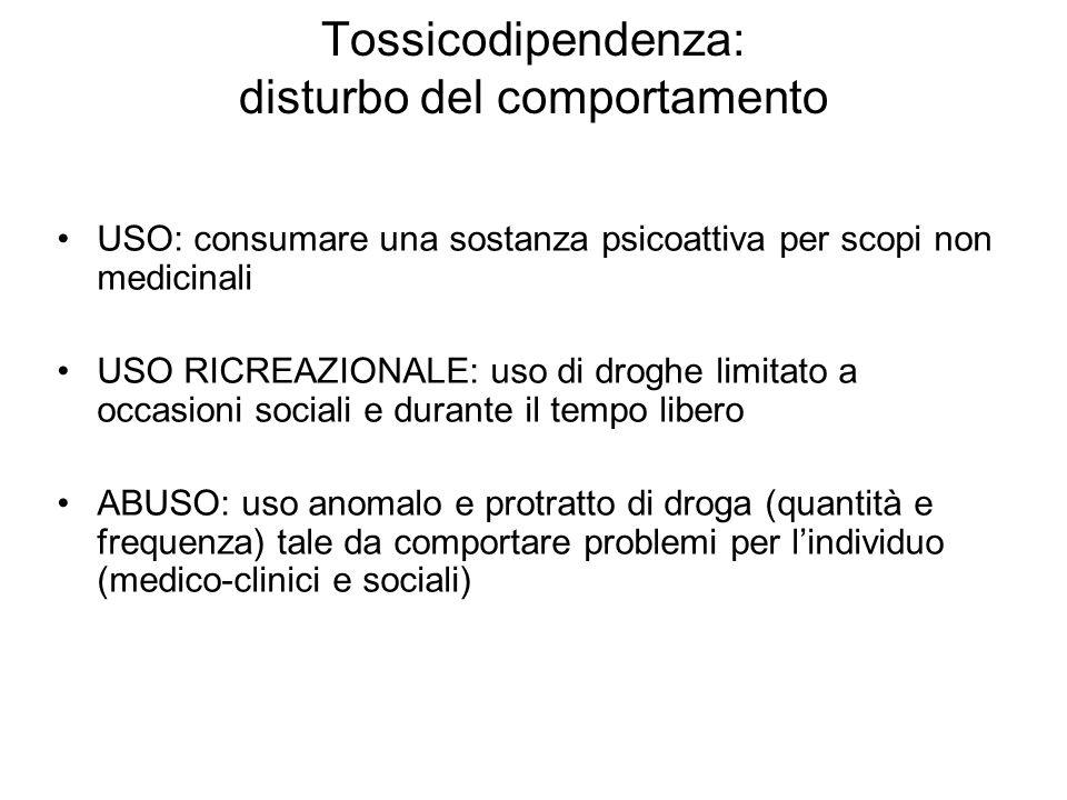 Tossicodipendenza: disturbo del comportamento USO: consumare una sostanza psicoattiva per scopi non medicinali USO RICREAZIONALE: uso di droghe limita