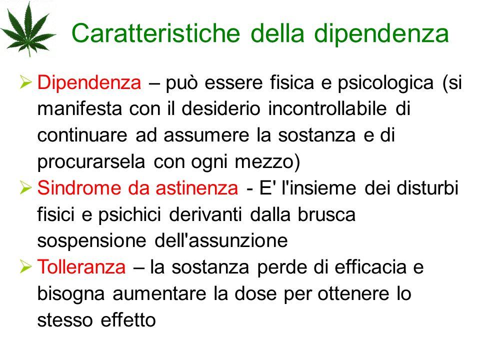 Caratteristiche della dipendenza Dipendenza – può essere fisica e psicologica (si manifesta con il desiderio incontrollabile di continuare ad assumere
