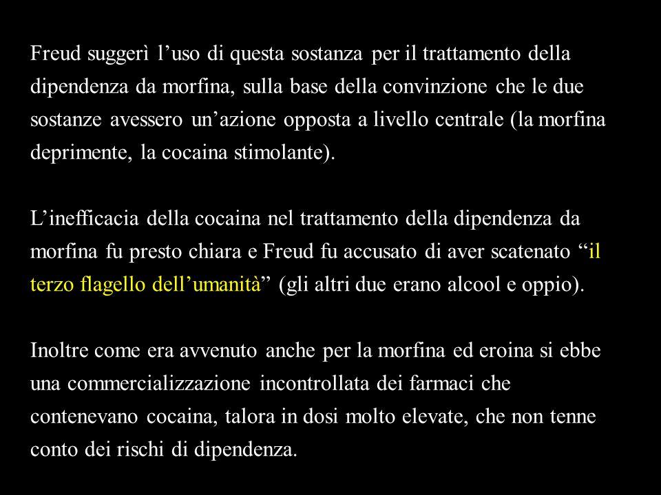 Freud suggerì luso di questa sostanza per il trattamento della dipendenza da morfina, sulla base della convinzione che le due sostanze avessero unazio