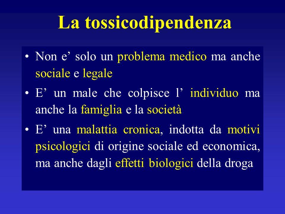 Tossicodipendenza da cocaina 1) Assenza di dipendenza fisica 2) Tolleranza : inversa o sensibilizzazione comportamentale 3) Dipendenza psichica 4) Psicosi
