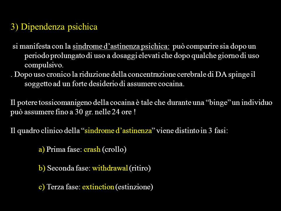 3) Dipendenza psichica si manifesta con la sindrome dastinenza psichica: può comparire sia dopo un periodo prolungato di uso a dosaggi elevati che dop