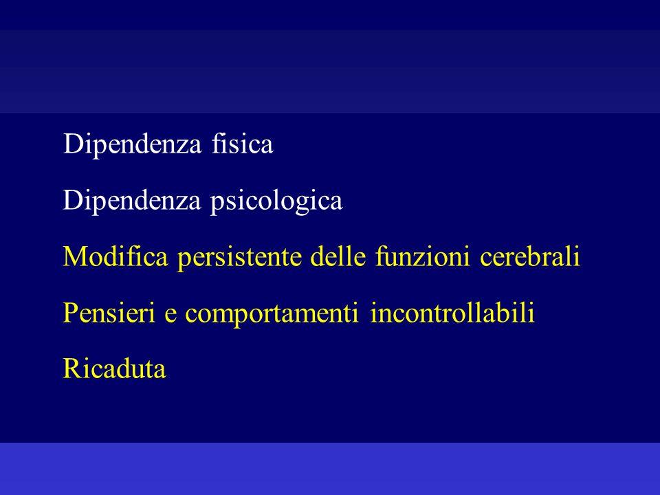3) Dipendenza psichica si manifesta con la sindrome dastinenza psichica: può comparire sia dopo un periodo prolungato di uso a dosaggi elevati che dopo qualche giorno di uso compulsivo..