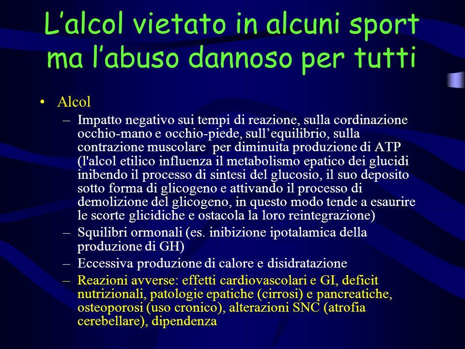Lalcol vietato in alcuni sport ma labuso dannoso per tutti Alcol –Impatto negativo sui tempi di reazione, sulla cordinazione occhio-mano e occhio-pied