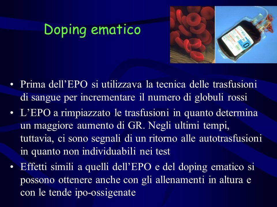 Due possibilità: –Doping ematico omologo (sangue proveniente da unaltra persona) Traditional transfusion medicine Donor Doping (team mate) –Doping ematico autologo (autotrasfusione) Estrazione di es.