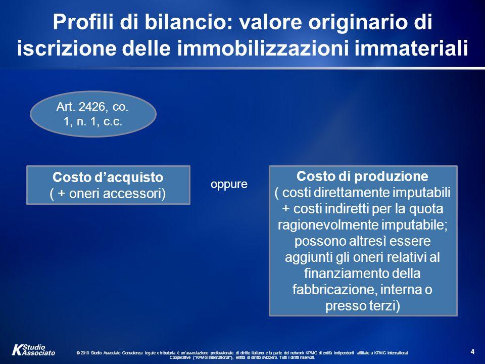 © 2010 Studio Associato Consulenza legale e tributaria è unassociazione professionale di diritto italiano e fa parte del network KPMG di entità indipendenti affiliate a KPMG International Cooperative ( KPMG International ), entità di diritto svizzero.