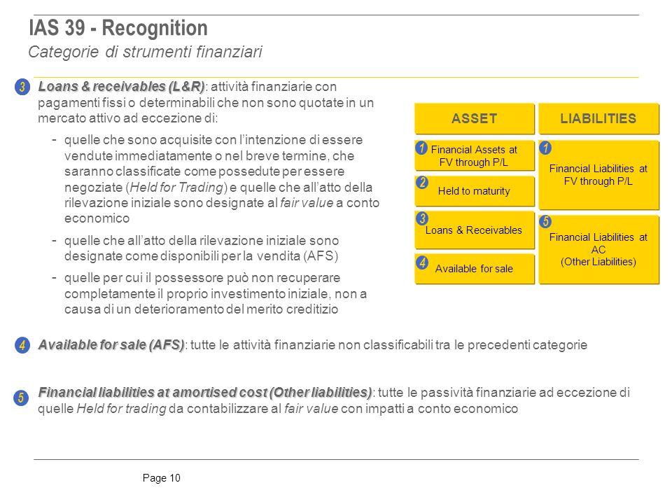 Page 10 Available for sale (AFS) Available for sale (AFS): tutte le attività finanziarie non classificabili tra le precedenti categorie 3 4 Financial Assets at FV through P/L Held to maturity Loans & Receivables Available for sale Financial Liabilities at FV through P/L Financial Liabilities at AC (Other Liabilities) ASSETLIABILITIES 1 1 2 3 4 5 Loans & receivables (L&R) Loans & receivables (L&R): attività finanziarie con pagamenti fissi o determinabili che non sono quotate in un mercato attivo ad eccezione di: - quelle che sono acquisite con lintenzione di essere vendute immediatamente o nel breve termine, che saranno classificate come possedute per essere negoziate (Held for Trading) e quelle che allatto della rilevazione iniziale sono designate al fair value a conto economico - quelle che allatto della rilevazione iniziale sono designate come disponibili per la vendita (AFS) - quelle per cui il possessore può non recuperare completamente il proprio investimento iniziale, non a causa di un deterioramento del merito creditizio Financial liabilities at amortised cost (Other liabilities) Financial liabilities at amortised cost (Other liabilities): tutte le passività finanziarie ad eccezione di quelle Held for trading da contabilizzare al fair value con impatti a conto economico 5 3 Categorie di strumenti finanziari IAS 39 - Recognition