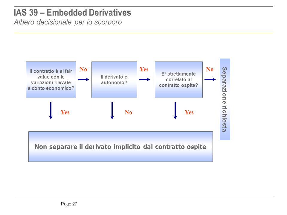 Page 27 Albero decisionale per lo scorporo IAS 39 – Embedded Derivatives Il contratto è al fair value con le variazioni rilevate a conto economico.