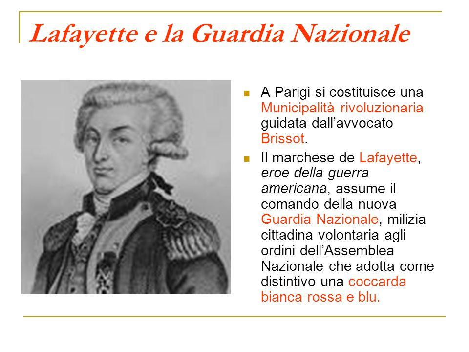 Lafayette e la Guardia Nazionale A Parigi si costituisce una Municipalità rivoluzionaria guidata dallavvocato Brissot. Il marchese de Lafayette, eroe
