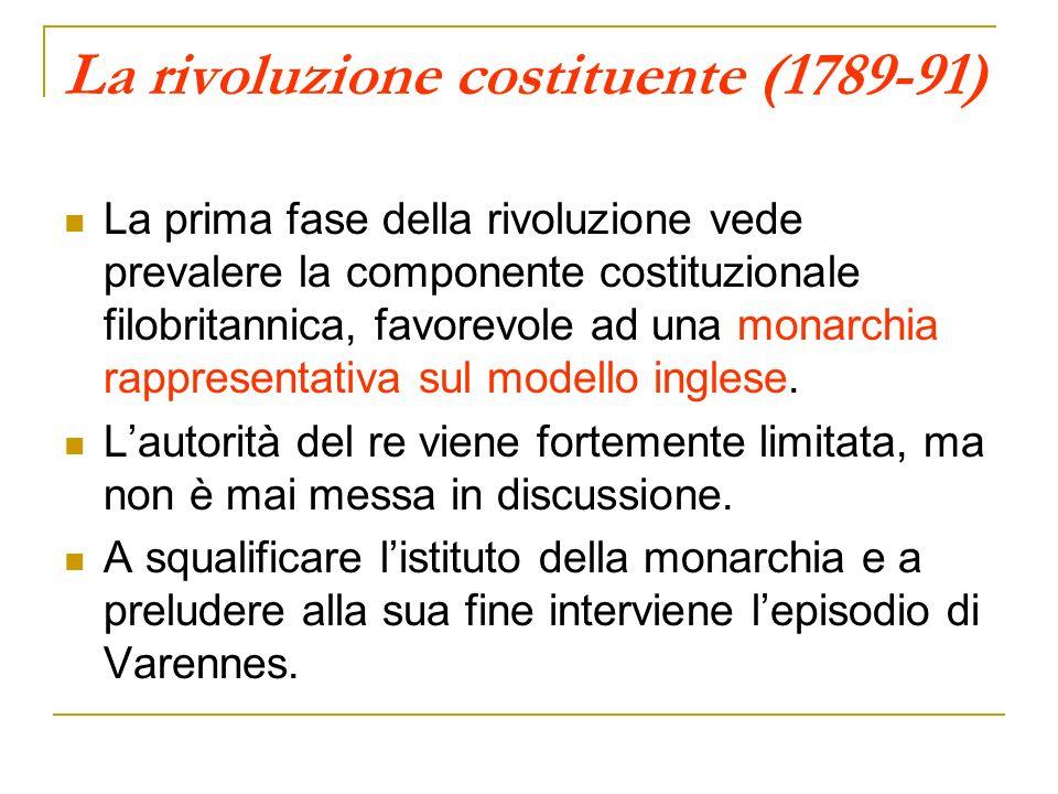 La rivoluzione costituente (1789-91) La prima fase della rivoluzione vede prevalere la componente costituzionale filobritannica, favorevole ad una monarchia rappresentativa sul modello inglese.
