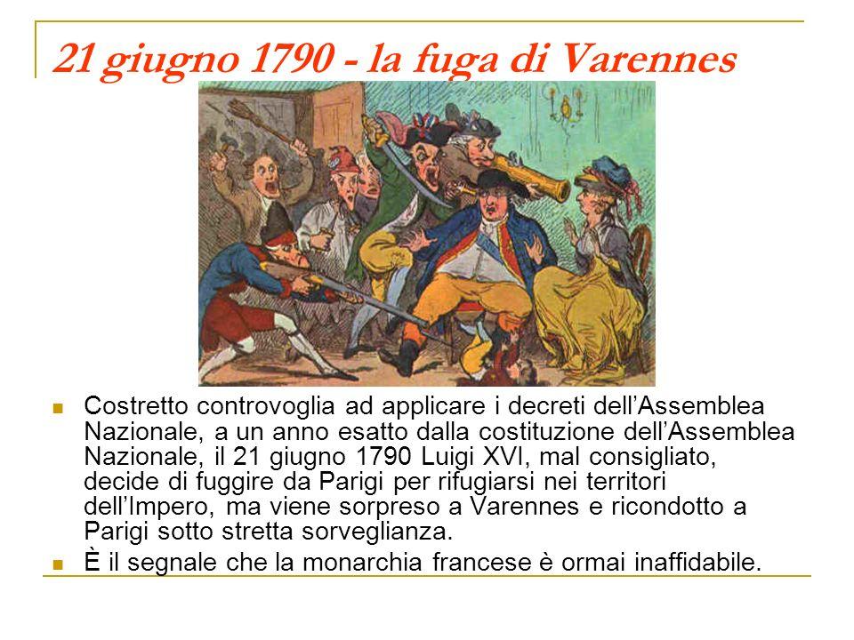 21 giugno 1790 - la fuga di Varennes Costretto controvoglia ad applicare i decreti dellAssemblea Nazionale, a un anno esatto dalla costituzione dellAssemblea Nazionale, il 21 giugno 1790 Luigi XVI, mal consigliato, decide di fuggire da Parigi per rifugiarsi nei territori dellImpero, ma viene sorpreso a Varennes e ricondotto a Parigi sotto stretta sorveglianza.