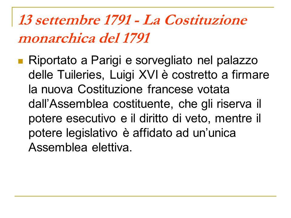 13 settembre 1791 - La Costituzione monarchica del 1791 Riportato a Parigi e sorvegliato nel palazzo delle Tuileries, Luigi XVI è costretto a firmare
