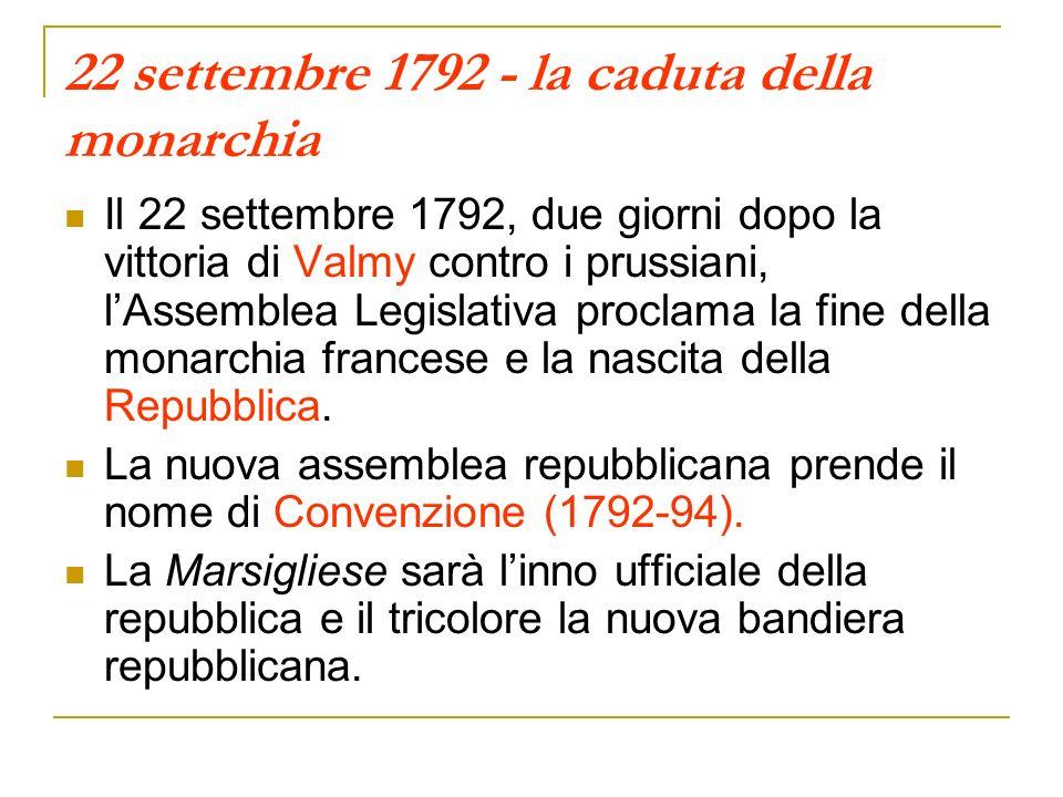 22 settembre 1792 - la caduta della monarchia Il 22 settembre 1792, due giorni dopo la vittoria di Valmy contro i prussiani, lAssemblea Legislativa proclama la fine della monarchia francese e la nascita della Repubblica.