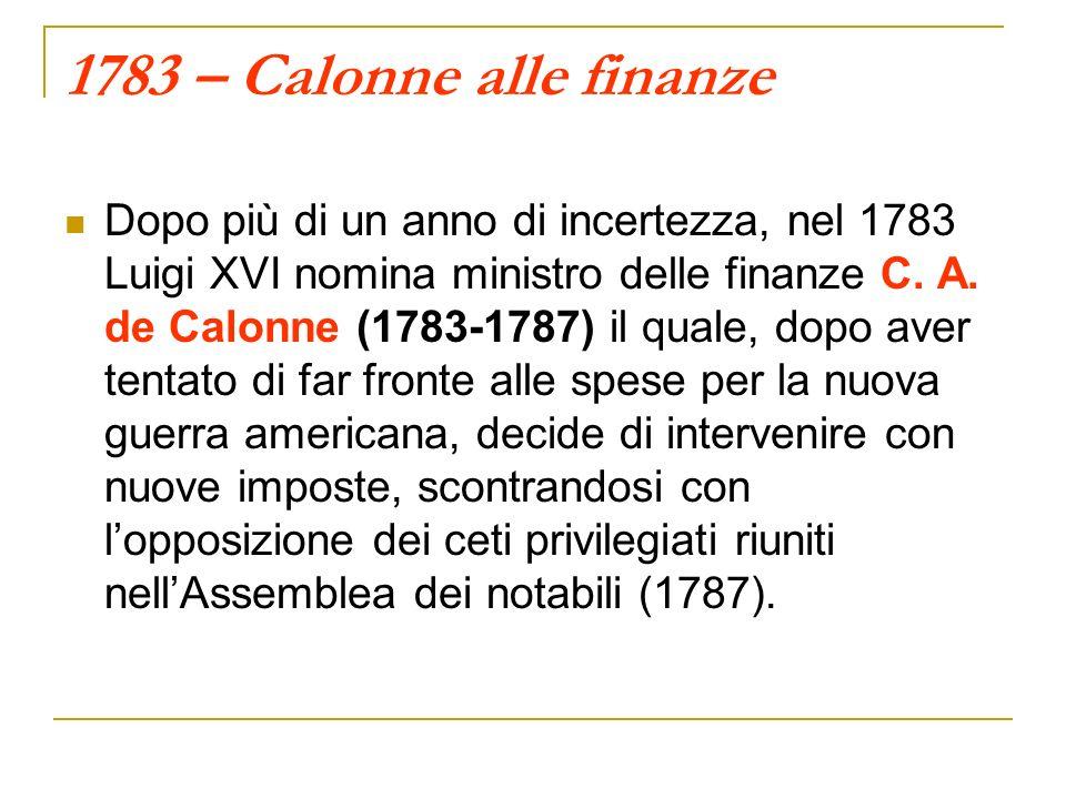 1783 – Calonne alle finanze Dopo più di un anno di incertezza, nel 1783 Luigi XVI nomina ministro delle finanze C.