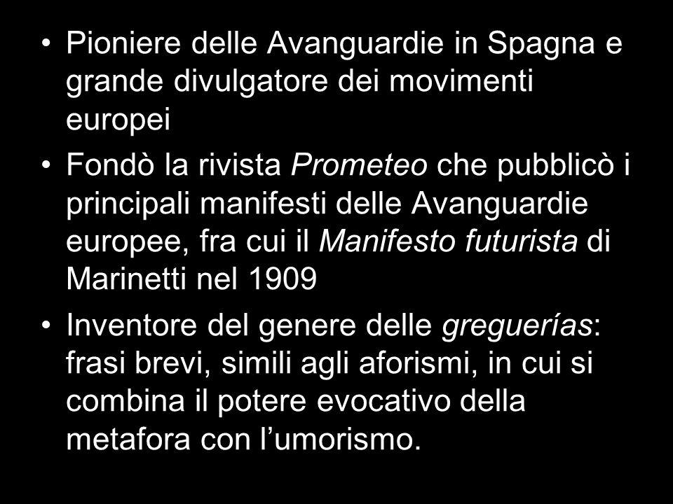 Pioniere delle Avanguardie in Spagna e grande divulgatore dei movimenti europei Fondò la rivista Prometeo che pubblicò i principali manifesti delle Av