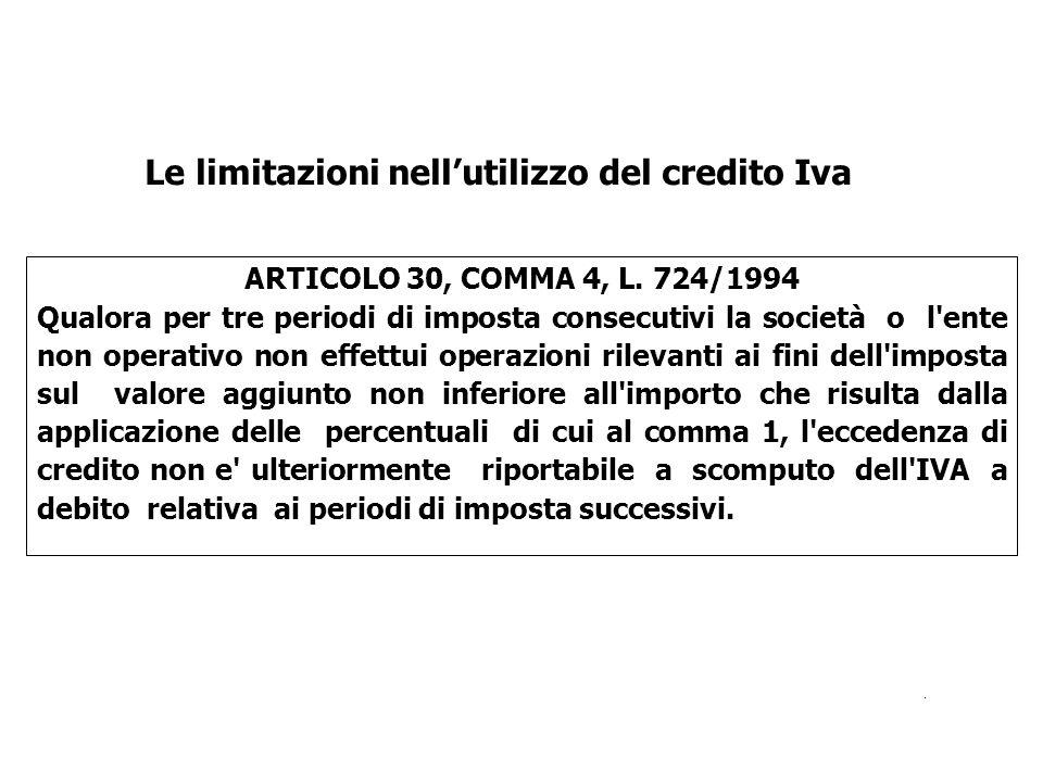 ARTICOLO 30, COMMA 4, L. 724/1994 Qualora per tre periodi di imposta consecutivi la società o l'ente non operativo non effettui operazioni rilevanti a