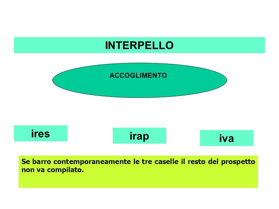 INTERPELLO ires ACCOGLIMENTO irap iva Se barro contemporaneamente le tre caselle il resto del prospetto non va compilato.