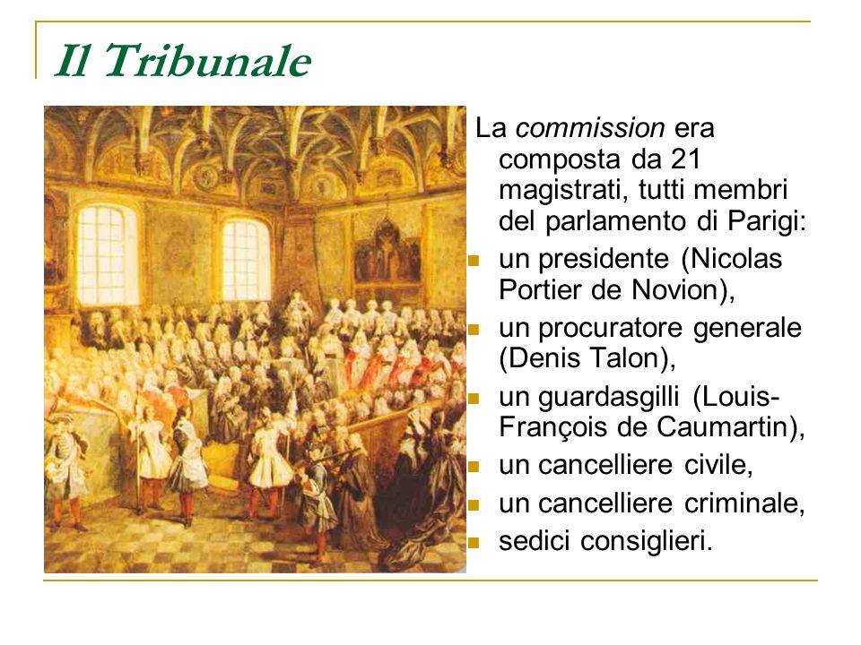 Il Tribunale La commission era composta da 21 magistrati, tutti membri del parlamento di Parigi: un presidente (Nicolas Portier de Novion), un procura
