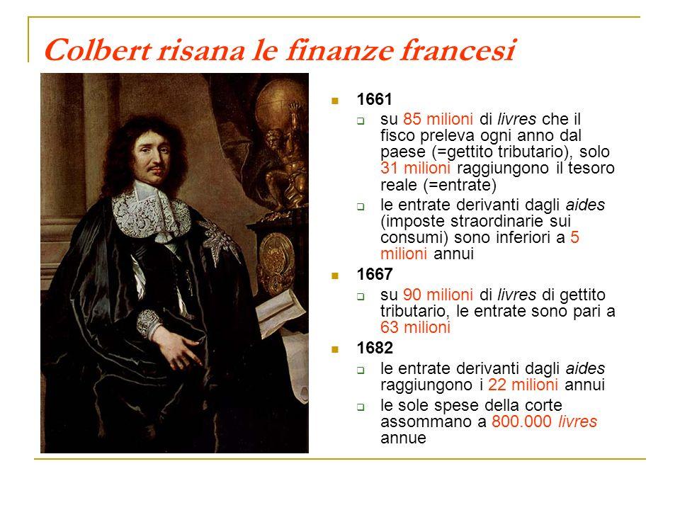 Colbert risana le finanze francesi 1661 su 85 milioni di livres che il fisco preleva ogni anno dal paese (=gettito tributario), solo 31 milioni raggiu