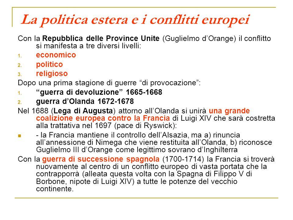 La politica estera e i conflitti europei Con la Repubblica delle Province Unite (Guglielmo dOrange) il conflitto si manifesta a tre diversi livelli: 1