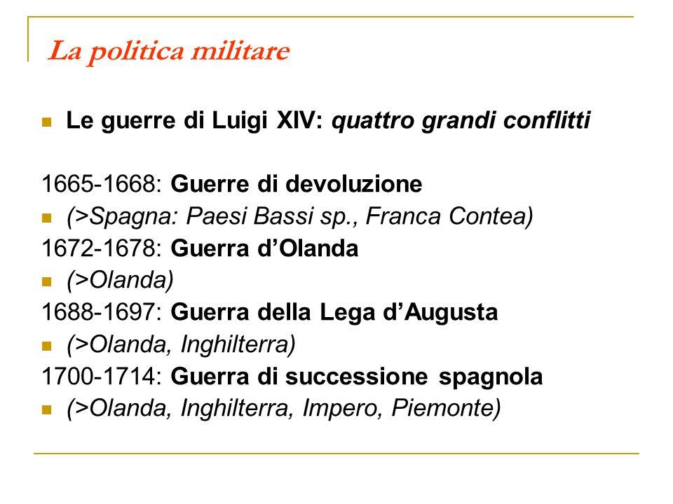 La politica militare Le guerre di Luigi XIV: quattro grandi conflitti 1665-1668: Guerre di devoluzione (>Spagna: Paesi Bassi sp., Franca Contea) 1672-