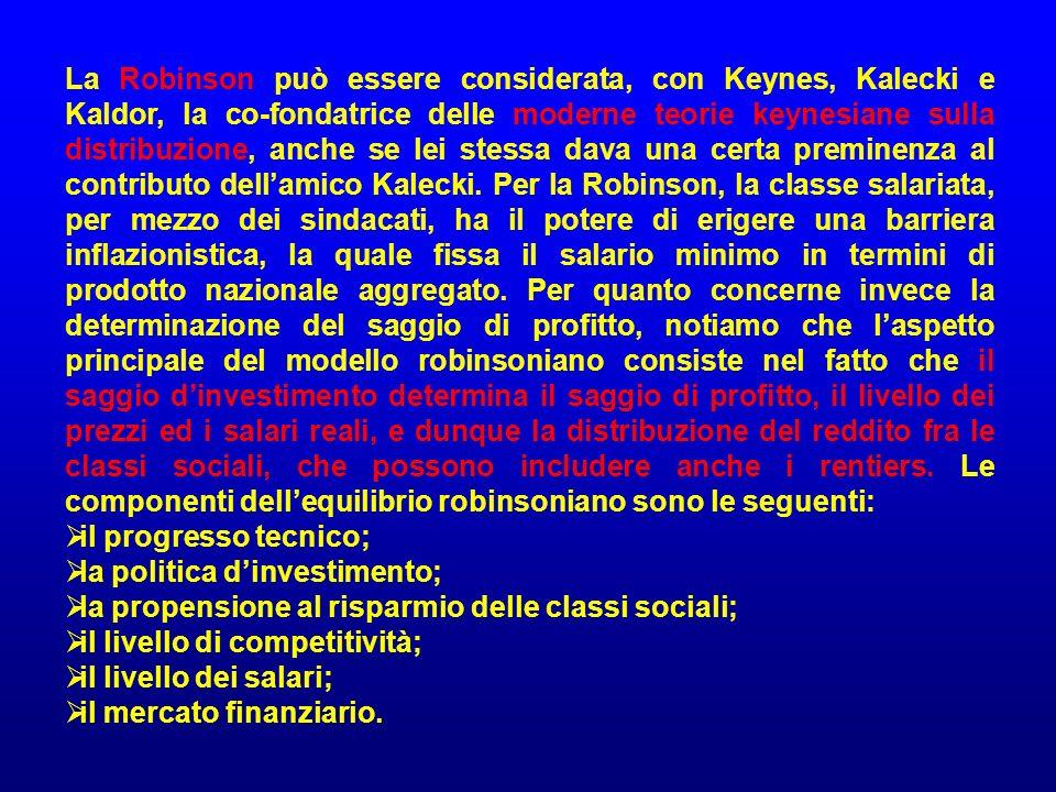 La Robinson può essere considerata, con Keynes, Kalecki e Kaldor, la co-fondatrice delle moderne teorie keynesiane sulla distribuzione, anche se lei s