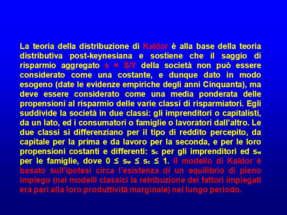 La teoria della distribuzione di Kaldor è alla base della teoria distributiva post-keynesiana e sostiene che il saggio di risparmio aggregato s = S/Y