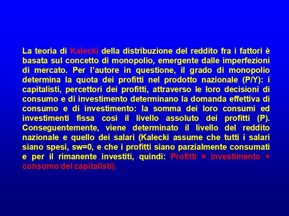 La teoria di Kalecki della distribuzione del reddito fra i fattori è basata sul concetto di monopolio, emergente dalle imperfezioni di mercato. Per la