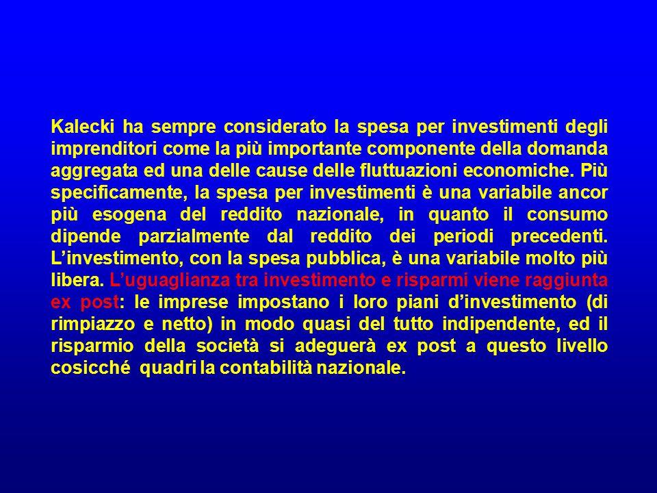 Kalecki ha sempre considerato la spesa per investimenti degli imprenditori come la più importante componente della domanda aggregata ed una delle caus