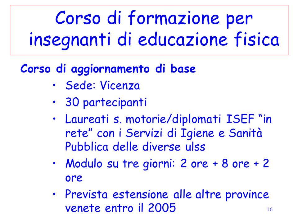 16 Corso di formazione per insegnanti di educazione fisica Corso di aggiornamento di base Sede: Vicenza 30 partecipanti Laureati s. motorie/diplomati