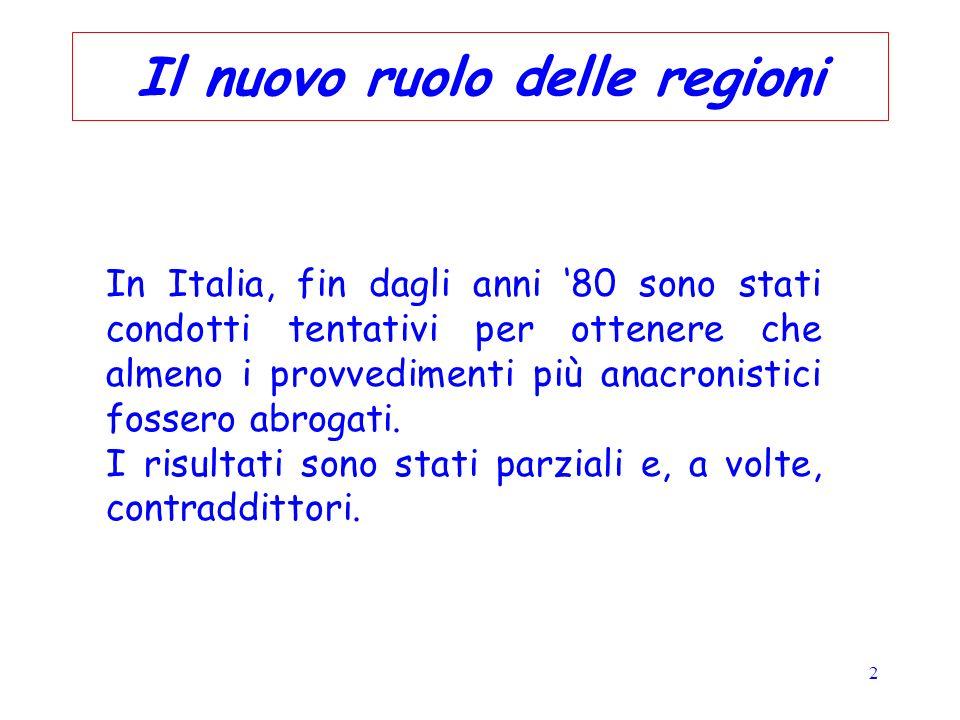 2 Il nuovo ruolo delle regioni In Italia, fin dagli anni 80 sono stati condotti tentativi per ottenere che almeno i provvedimenti più anacronistici fo