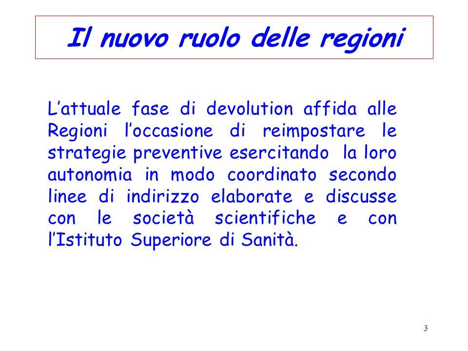 3 Il nuovo ruolo delle regioni Lattuale fase di devolution affida alle Regioni loccasione di reimpostare le strategie preventive esercitando la loro a