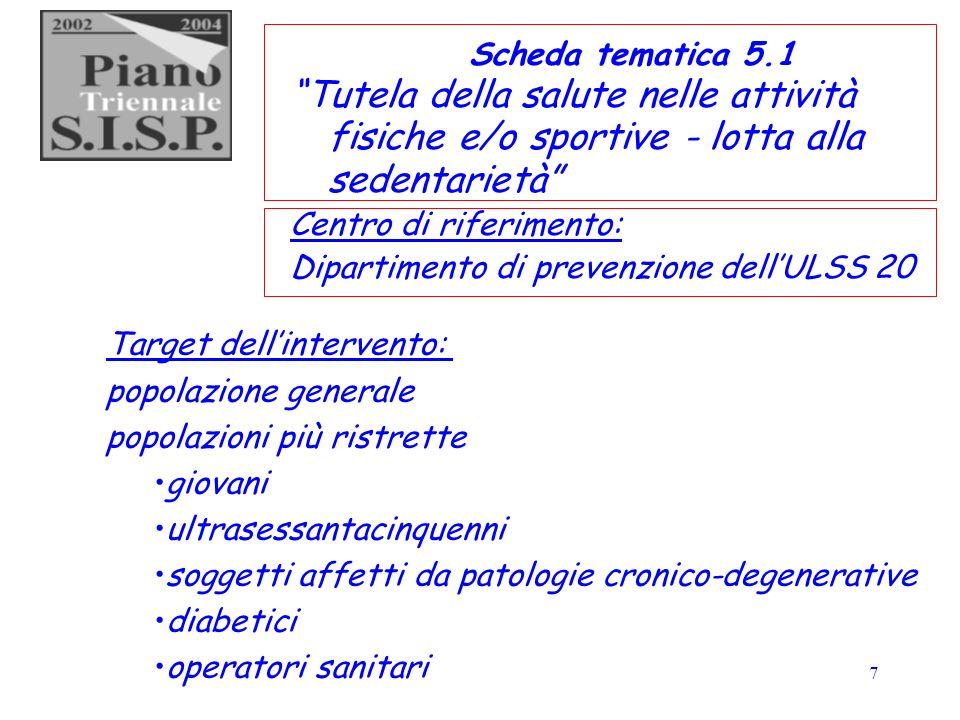 7 Scheda tematica 5.1 Tutela della salute nelle attività fisiche e/o sportive - lotta alla sedentarietà Centro di riferimento: Dipartimento di prevenz