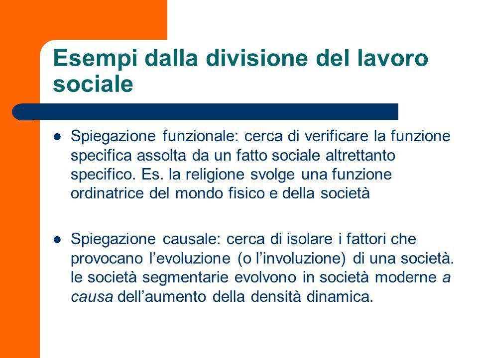 Due forme esplicative: funzione e causa Allinterno di ciascun tipo sociale sarà possibile individuare la funzione specifica dei fatti sociali. Analoga