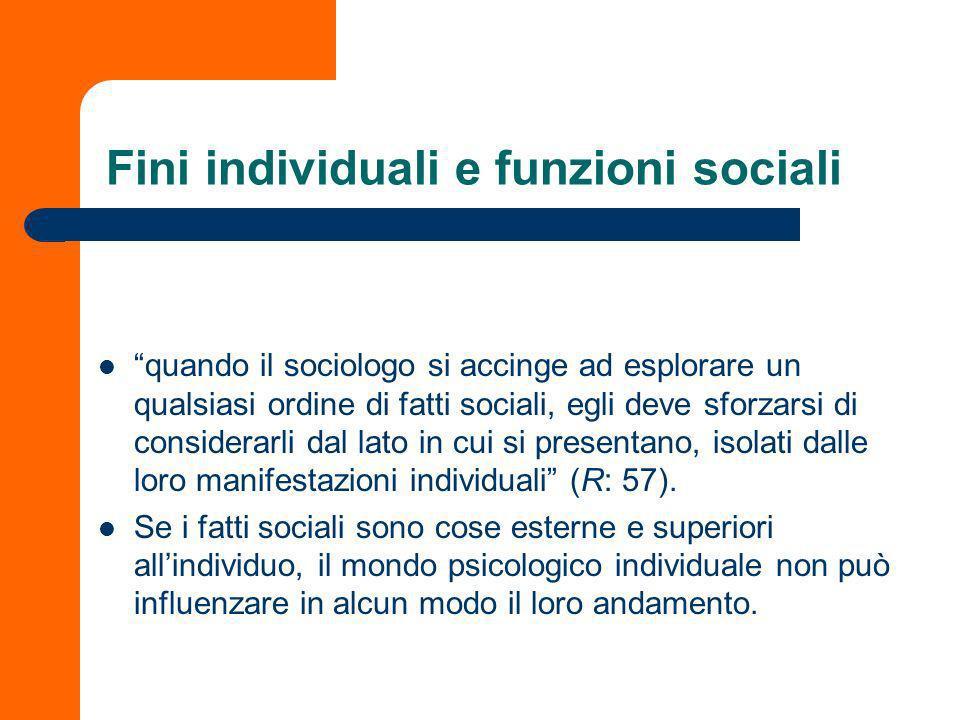 Esempi dalla divisione del lavoro sociale Spiegazione funzionale: cerca di verificare la funzione specifica assolta da un fatto sociale altrettanto sp