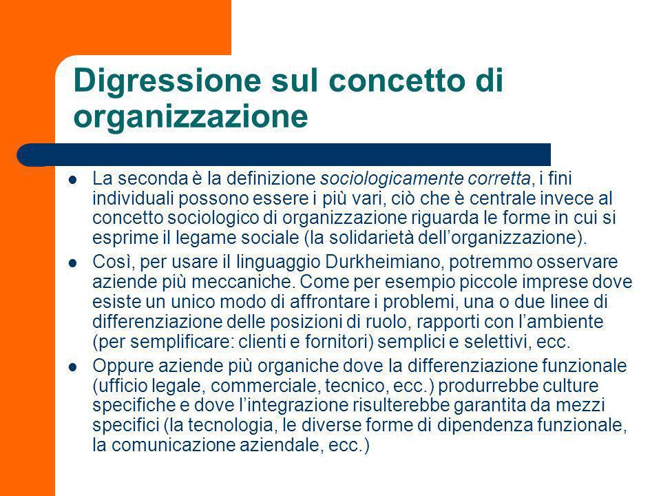 Digressione sul concetto di organizzazione La società moderna è anche una costellazione di organizzazioni formali (scuole, ospedali, enti amministrativi, aziende private, ecc.).