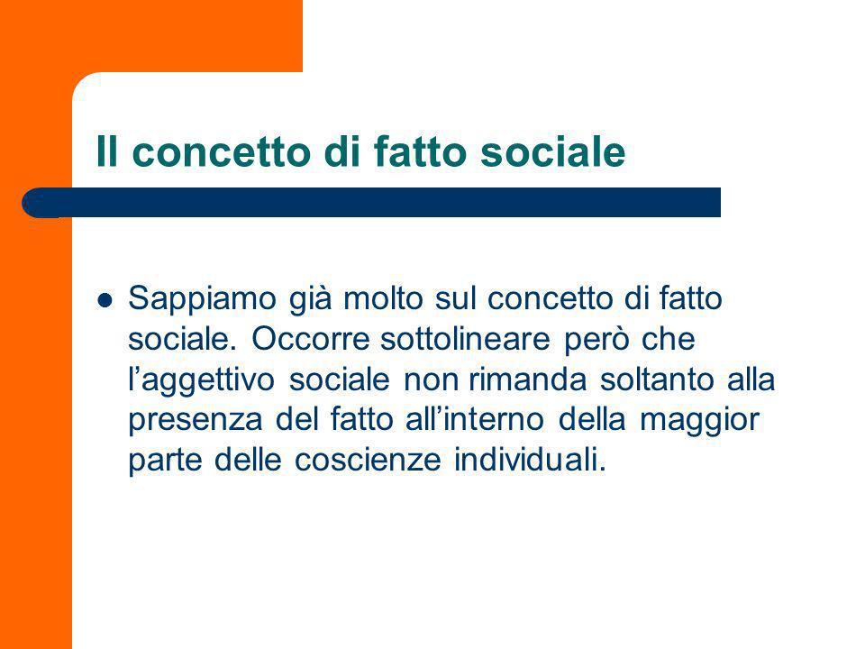Il concetto di fatto sociale Sappiamo già molto sul concetto di fatto sociale.
