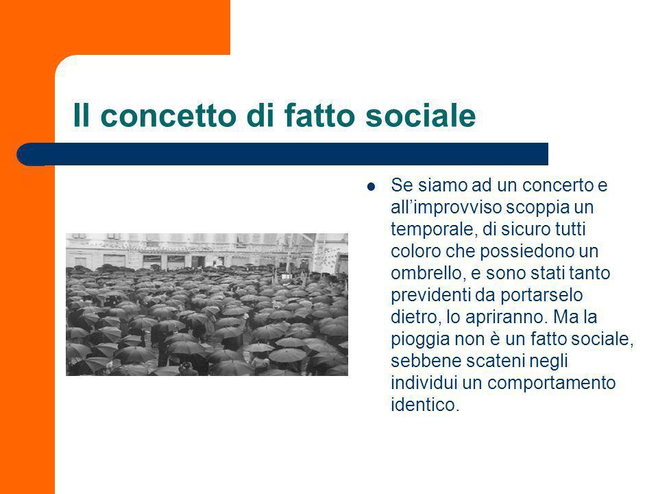 Il concetto di fatto sociale Sappiamo già molto sul concetto di fatto sociale. Occorre sottolineare però che laggettivo sociale non rimanda soltanto a