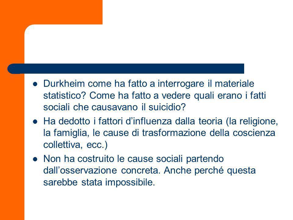 Una questione di metodo Il modo in cui Durkheim classifica i tipi di suicidio è eziologico e non morfologico: In una parola, la nostra classificazione anziché morfologica, sarà immediatamente eziologica (S.: 141) Che significa.
