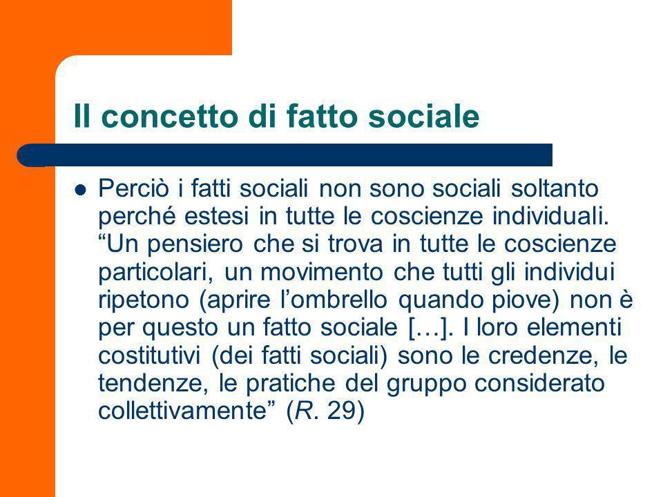 Il concetto di fatto sociale Perciò i fatti sociali non sono sociali soltanto perché estesi in tutte le coscienze individuali.