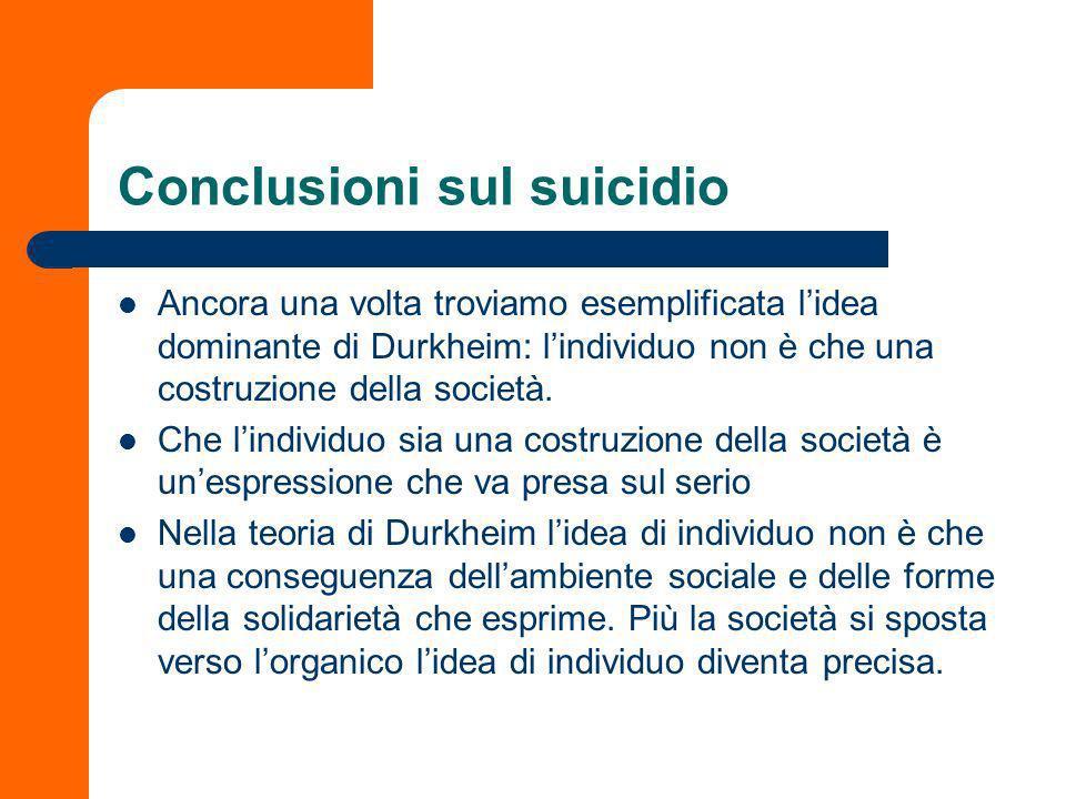 Ancora sulla regolarità statistica Ha immaginato cause sociali specifiche che avessero un rapporto semantico con cause sociali generali (i tipi di suicidio).
